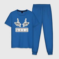 Пижама хлопковая мужская Сенку Доктор Стоун Химия цвета синий — фото 1