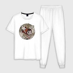Пижама хлопковая мужская Cuphead Hilda Berg цвета белый — фото 1