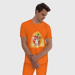 Пижама хлопковая мужская Пасхальный кролик цвета оранжевый — фото 2