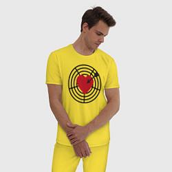 Пижама хлопковая мужская Любовная мишень цвета желтый — фото 2
