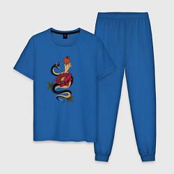 Пижама хлопковая мужская Адамово яблоко и змея цвета синий — фото 1