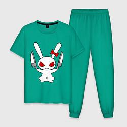Пижама хлопковая мужская Зайка с ножами цвета зеленый — фото 1