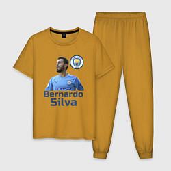 Пижама хлопковая мужская Silva Bernardo Манчестер Сити цвета горчичный — фото 1