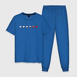 Пижама хлопковая мужская СЕРДЕЧКИ ПИКСЕЛИ Z цвета синий — фото 1