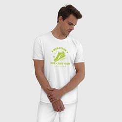 Пижама хлопковая мужская Just Run цвета белый — фото 2