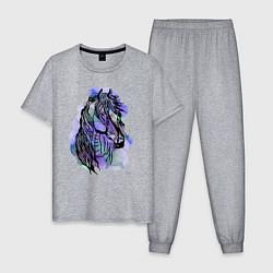 Пижама хлопковая мужская Лошадьакварель цвета меланж — фото 1