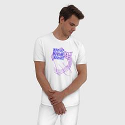 Пижама хлопковая мужская NONAME цвета белый — фото 2