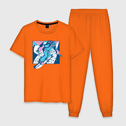 Пижама хлопковая мужская Cool Snowboarding Сноубордист цвета оранжевый — фото 1