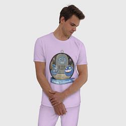 Пижама хлопковая мужская Groopy le grande цвета лаванда — фото 2
