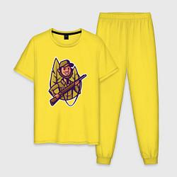 Пижама хлопковая мужская Охотник держит ружье цвета желтый — фото 1