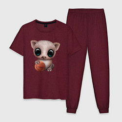 Пижама хлопковая мужская Свинка - Баскетбол цвета меланж-бордовый — фото 1