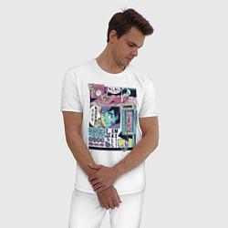 Пижама хлопковая мужская Vaporwave Anime - Call me цвета белый — фото 2