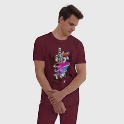 Пижама хлопковая мужская My Lover цвета меланж-бордовый — фото 2