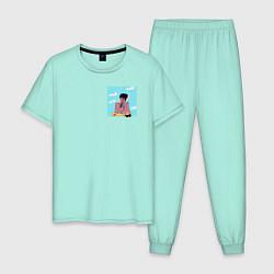 Пижама хлопковая мужская The Weeknd Bored цвета мятный — фото 1