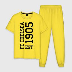 Пижама хлопковая мужская FC Chelsea цвета желтый — фото 1