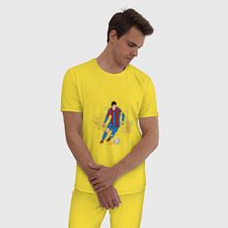 Пижама хлопковая мужская Известный футболист цвета желтый — фото 2