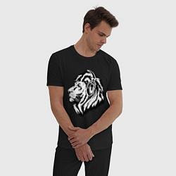 Пижама хлопковая мужская Лев в наушниках цвета черный — фото 2