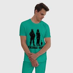 Пижама хлопковая мужская Вежливые люди и кот цвета зеленый — фото 2