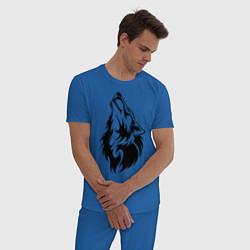Пижама хлопковая мужская Воющий волк цвета синий — фото 2
