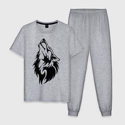 Пижама хлопковая мужская Воющий волк цвета меланж — фото 1