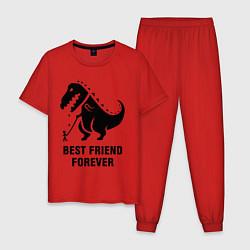 Пижама хлопковая мужская Godzilla best friend цвета красный — фото 1