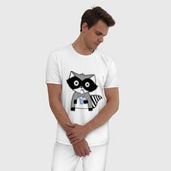 Пижама хлопковая мужская Енот-мальчик цвета белый — фото 2