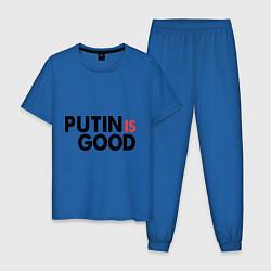 Пижама хлопковая мужская Putin is good цвета синий — фото 1