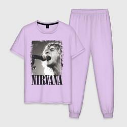 Пижама хлопковая мужская Кобейн поет цвета лаванда — фото 1
