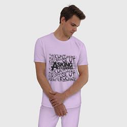 Пижама хлопковая мужская Asking Alexandria: Words цвета лаванда — фото 2