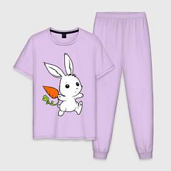 Пижама хлопковая мужская Зайка с морковкой цвета лаванда — фото 1