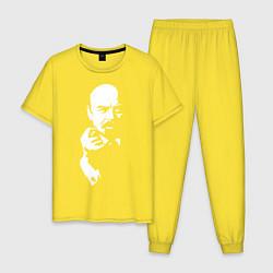 Пижама хлопковая мужская Ленин: фигу вам цвета желтый — фото 1