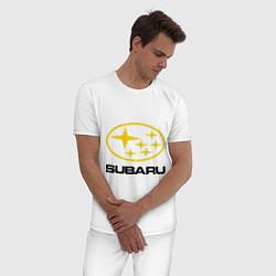 Пижама хлопковая мужская Subaru Logo цвета белый — фото 2