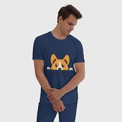 Пижама хлопковая мужская Got Corgi цвета тёмно-синий — фото 2