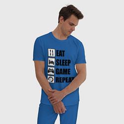 Пижама хлопковая мужская Repeat цвета синий — фото 2