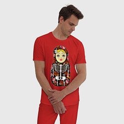 Пижама хлопковая мужская Матрёшка цвета красный — фото 2