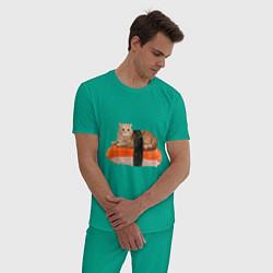 Пижама хлопковая мужская Котосуши цвета зеленый — фото 2