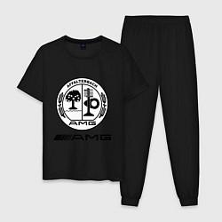 Пижама хлопковая мужская AMG цвета черный — фото 1