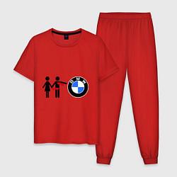 Пижама хлопковая мужская I love BMW цвета красный — фото 1