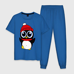 Пижама хлопковая мужская Удивленный пингвинчик цвета синий — фото 1