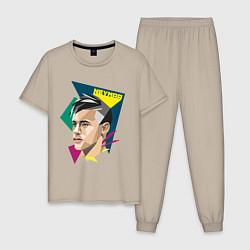 Пижама хлопковая мужская Неймар: фан-арт цвета миндальный — фото 1