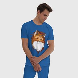 Пижама хлопковая мужская Рыжая лисица цвета синий — фото 2