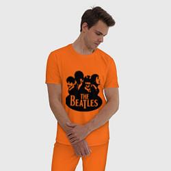 Пижама хлопковая мужская The Beatles Band цвета оранжевый — фото 2
