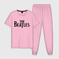 Пижама хлопковая мужская The Beatles цвета светло-розовый — фото 1