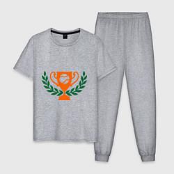 Пижама хлопковая мужская Чемпион по теннису цвета меланж — фото 1