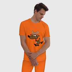 Пижама хлопковая мужская Весёлый Олень цвета оранжевый — фото 2