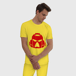 Пижама хлопковая мужская Шлем Космодесанта цвета желтый — фото 2