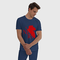 Пижама хлопковая мужская Евангелион NERV цвета тёмно-синий — фото 2