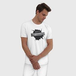 Пижама хлопковая мужская Главный по железу цвета белый — фото 2