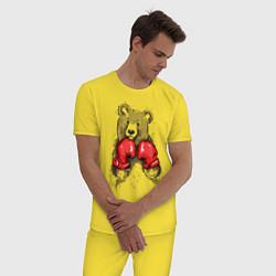 Пижама хлопковая мужская Bear Boxing цвета желтый — фото 2