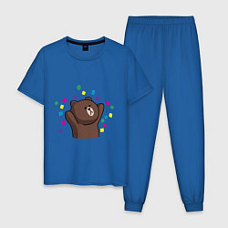 Пижама хлопковая мужская Мишка в серпантине цвета синий — фото 1